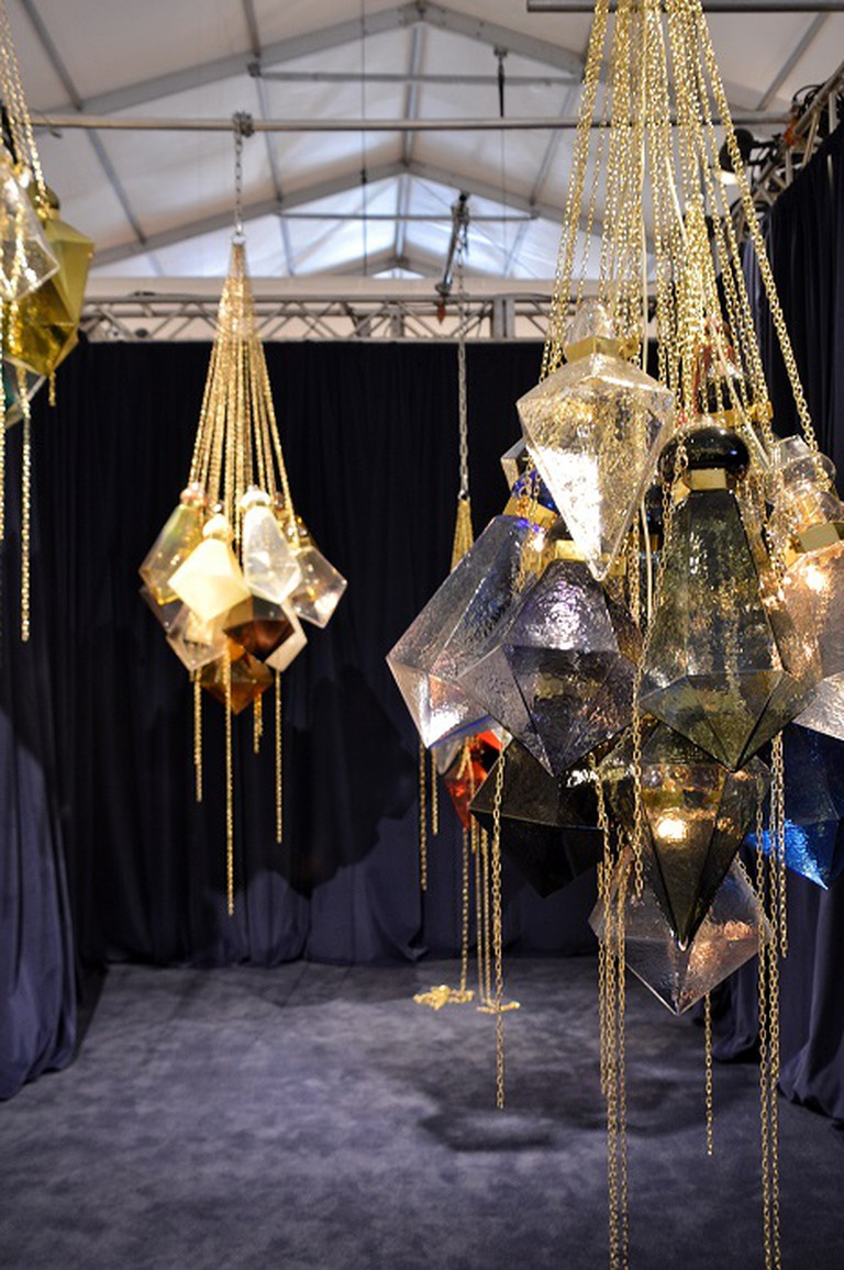 Prismatic glass chandeliers by Frida Fjellman exhibited at Hostler Burrows. Photo Credit | Lisa Morales