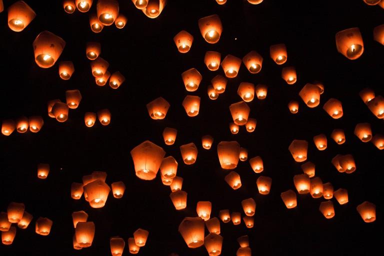 Lanterns fill the night sky at Pingxi Sky Lantern Festival | © Jirka Matousek