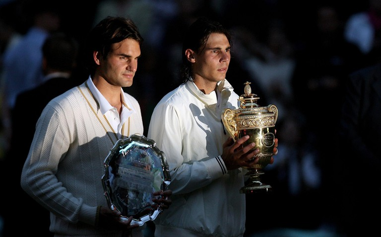 Federer and Nadal after their 2008 Wimbledon final.