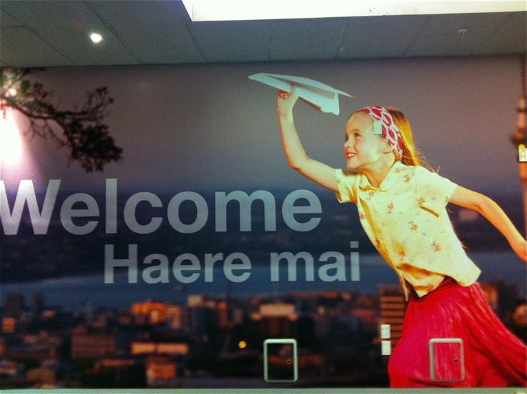 Haere mai sign, Auckland Airport