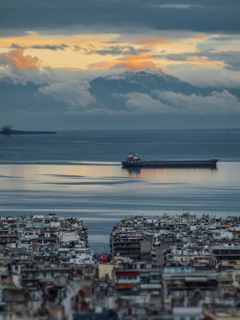 Sunset over Thessaloniki and Thermaikos bay