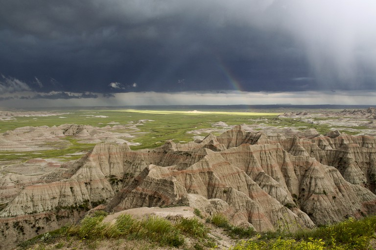 Rainbow During a Badlands Storm| Public Domain, Badlands Nation Park/Flickr