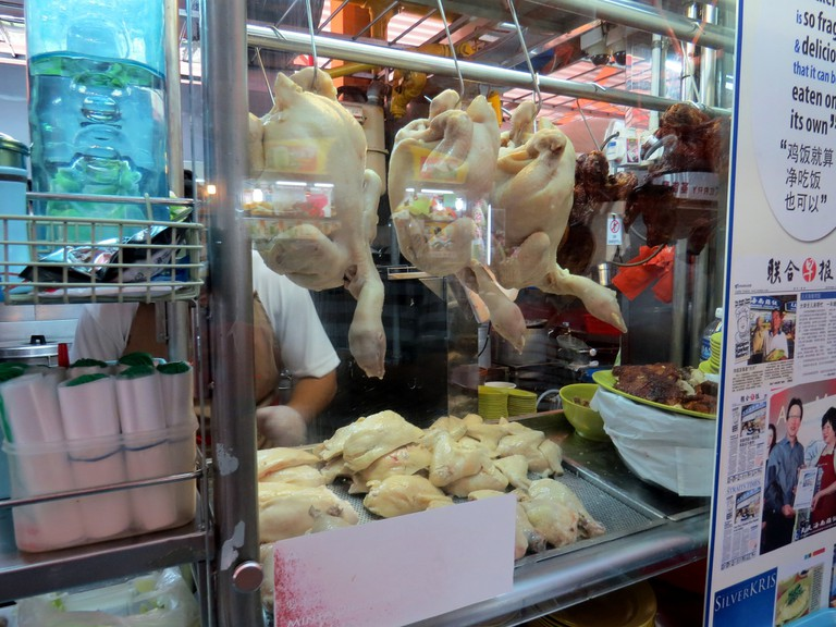 Chicken waiting to be prepared at the Tian Tian Chicken Rice hawker stall   © David Berkowitz/Flickr