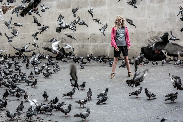 A girl playing among the pigeons │© Geoffrey Etwein / Flickr