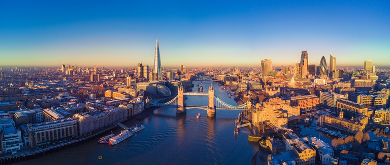 Aerial panoramic cityscape view of London and the River Thames