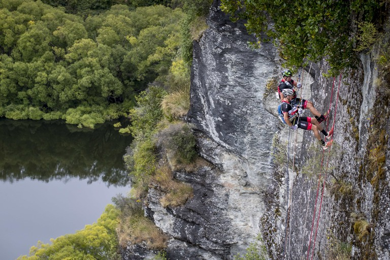Team Torpedo7 Pete Smallfield and Mitch Munro abseil during the race | Courtesy of the Red Bull Content Pool