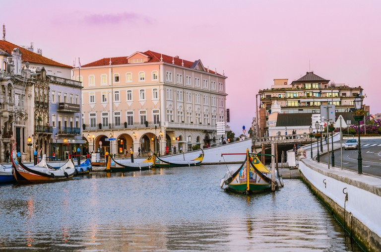 Aveiro, Portugal. Main canal in Aveiro with gondolas