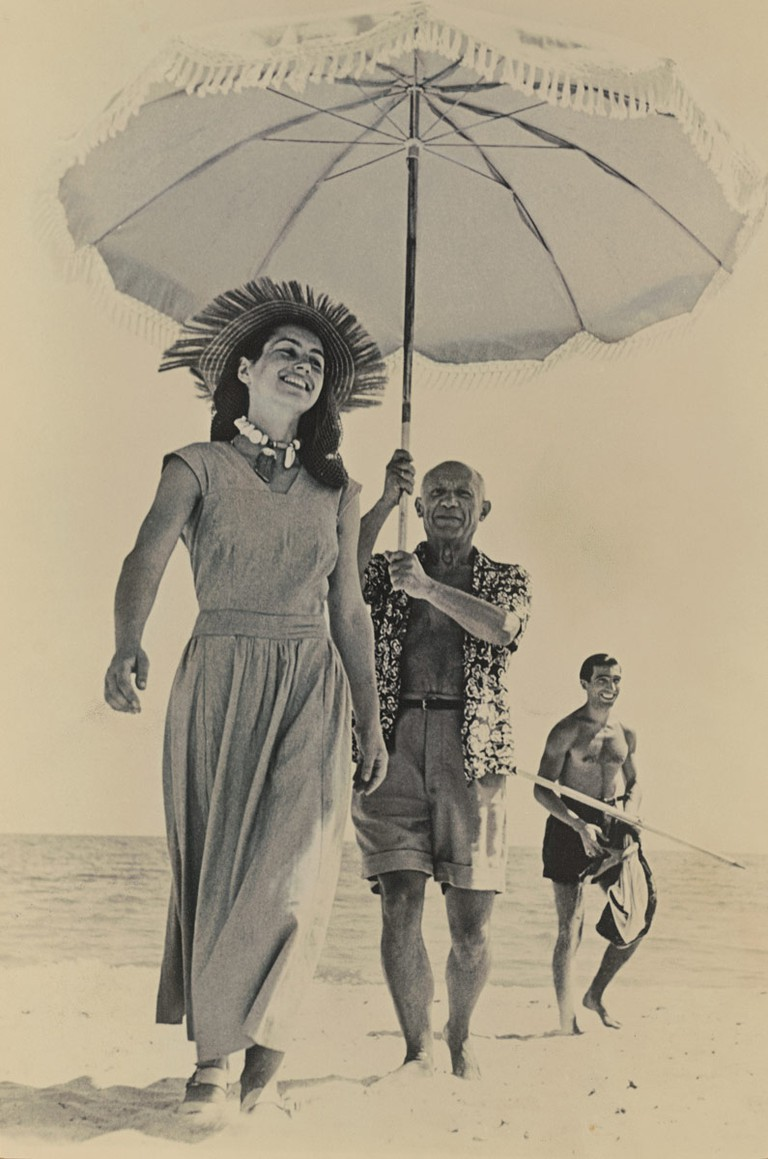 Robert Capa, Picasso and Francoise Gilot, Antibes, 1948