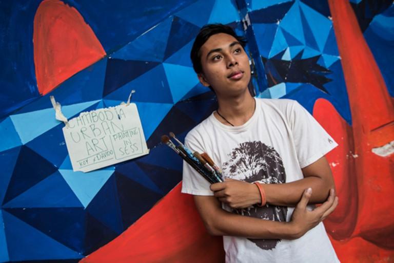 Davido's Cubist-inspired work © Cambodia Urban Art Festival 2015