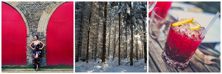 Luise Oleman, a snowy Nordic forest and a red cockail