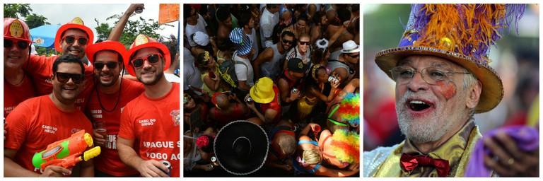 Bloco |© André Lobo/Riotur/Flickr | Bloco crowds |© André Lobo/Riotur/Flickr |Happy bloco attendee | © Fernando Maia | Riotur/Flickr