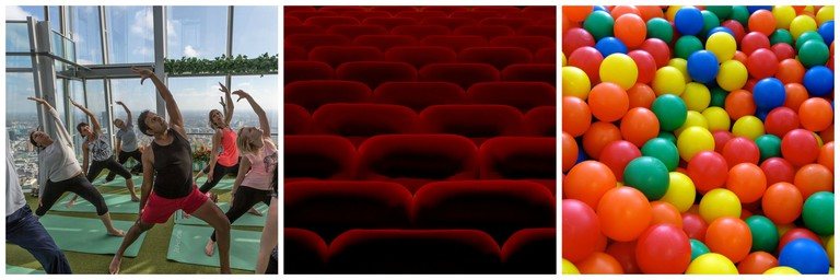 3 images of yoga, a ball pit and red cinema seats