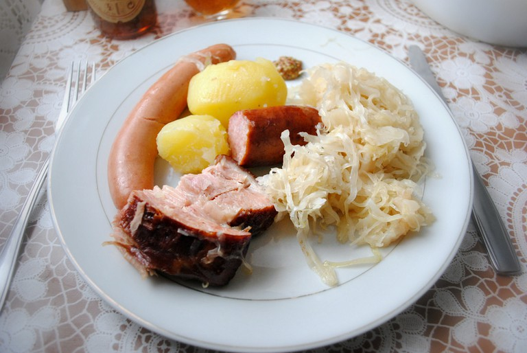 A plate of homemade choucroute