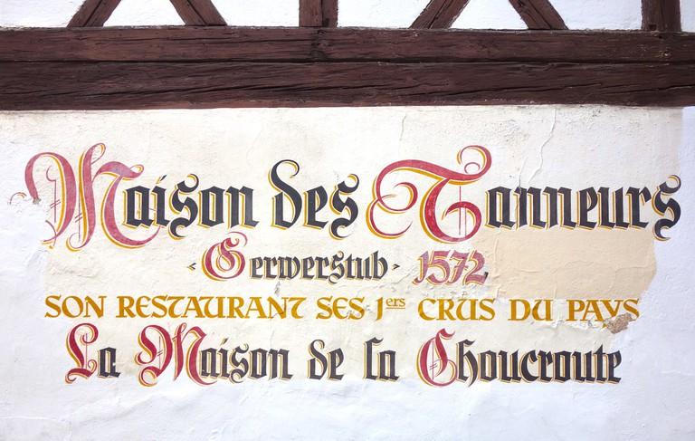 Sign on La Maison des Tanneurs in Strasbourg, making choucroute since 1572 ©Sylvia Edwards Davis