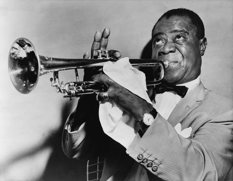 Louis Armstrong playing the trumpet, courtesy of the United States Library of Congress's Prints and Photographs division .