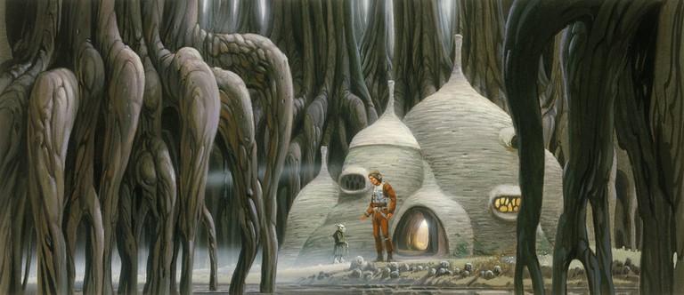Ralph McQuarrie, 'Luke and Yoda: Exterior of Yoda's Hut' | Courtesy The Lucas Museum