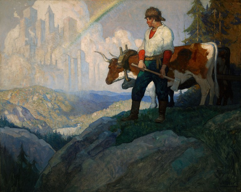N.C. Wyeth, 'The Pioneer & the Vision', 1918 | Courtesy The Lucas Museum