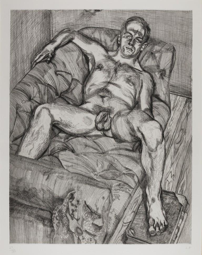 Lucian Freud, Man Posing 11,27, 1985 (est. £15,000-20,000)