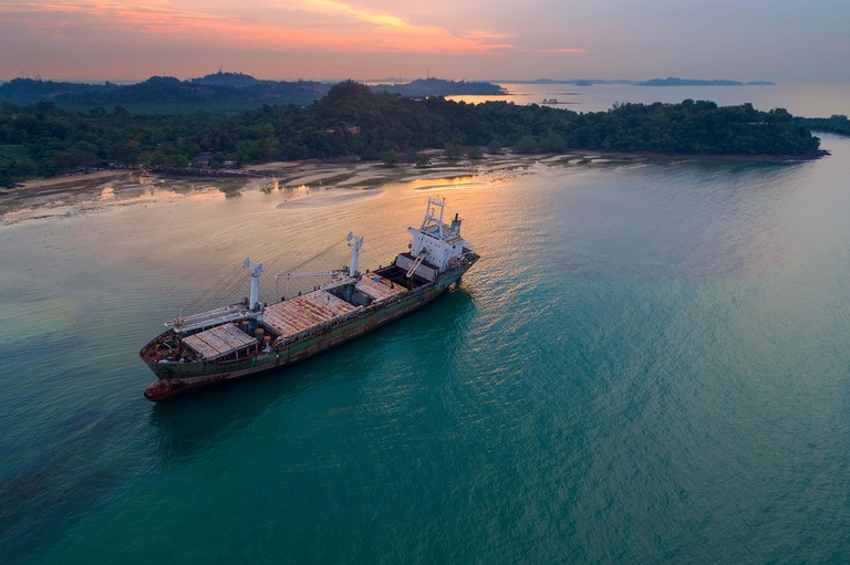 Aerial view of Ship wreck on beach in Batam Island, Indonesia