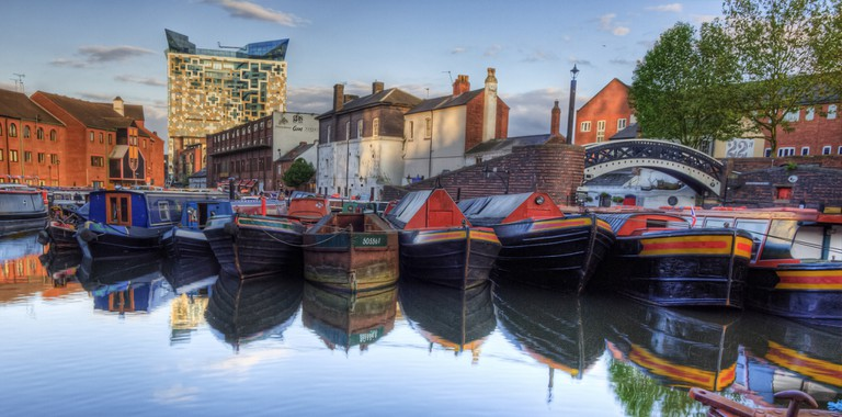 Narrowboats in Birmingham