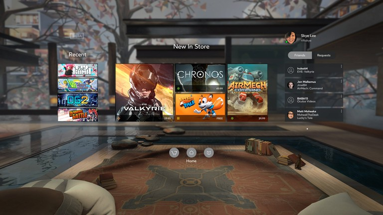 The Oculus home landing page is mostly populated with games right now. | Courtesy Oculus.