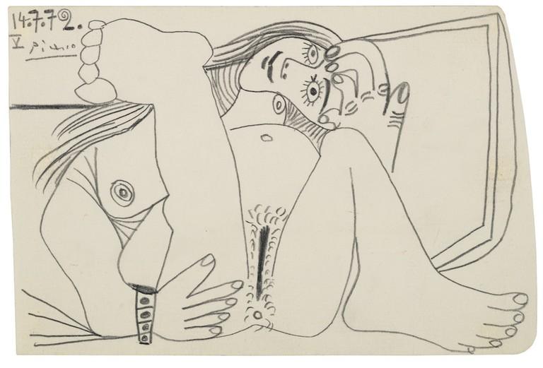 Pablo Picasso, Nu couché, 1972 (est. £60,000-80,000)