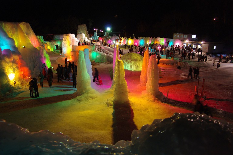 A kaleidoscope of colors at Lake Shikotsu Ice Festival | ©とまりん^^ / Photozou