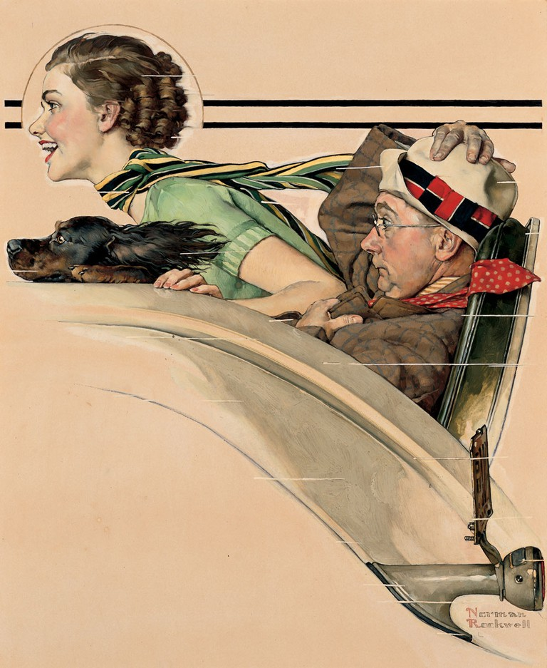 Norman Rockwell, 'Couple in Rumbleseat', 1935 | Courtesy The Lucas Museum