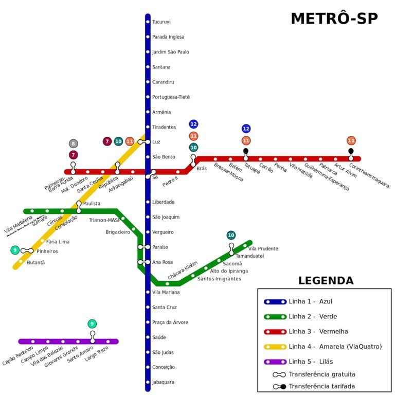 Sao Paulo Metro Map © Fsolda Wikimedia CC