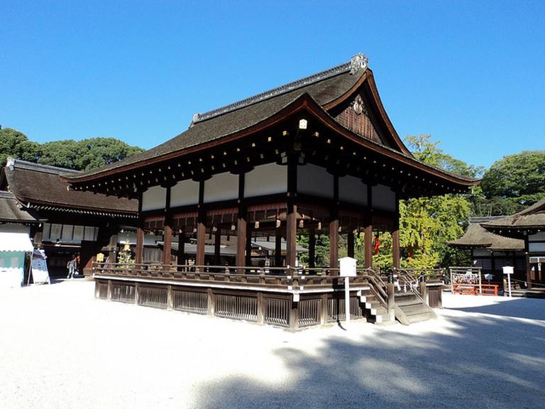 Stage at Shimogamo Shrine on a Beautiful Day