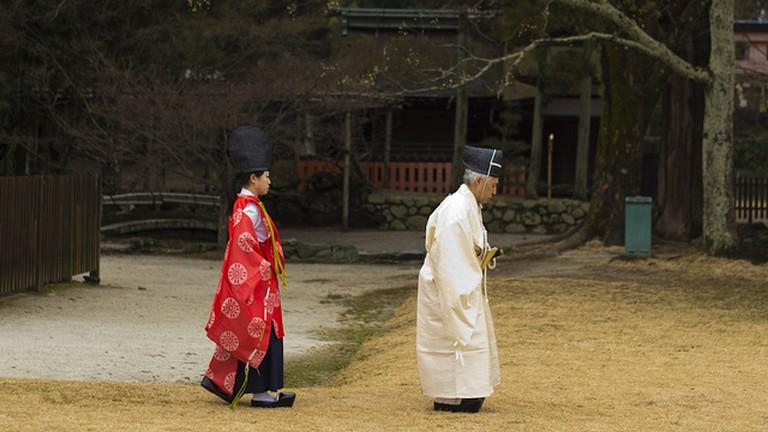 Shinto priest and priestess at Kamigamo Jinja Shrine
