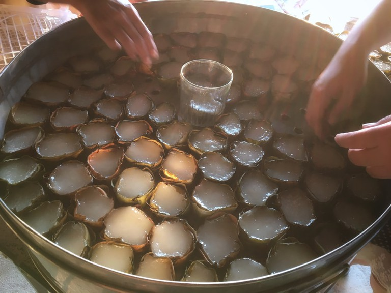 Making of Nian Gao During Chinese New Year