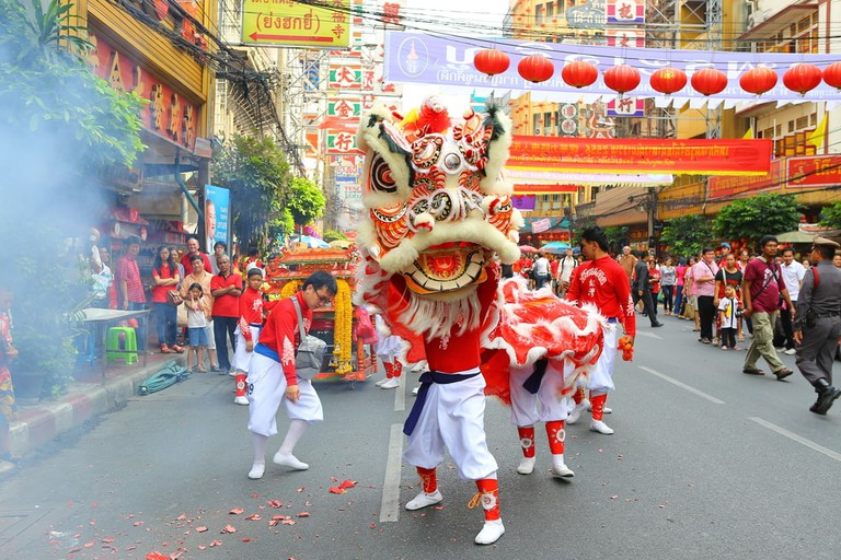 Chinese Lion Dance on Chinese New Year