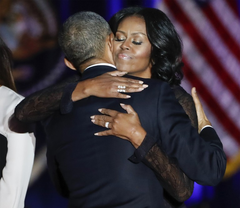 Mandatory Credit: Photo by KAMIL KRZACZYNSKI/EPA/REX/Shutterstock (7765441u) Barack Obama and Michelle Obama US President Barack Obama delivers his farewell address, Chicago, USA - 10 Jan 2017 First lady Michelle Obama (R) hugs US President Barack Obama (L) after his farewell address to the American people at McCormick Place in Chicago, Illinois, USA, 10 January 2017. Obama's eight year term as president of the USA ends on 20 January when President-elect Donald Trump takes the oath of office.