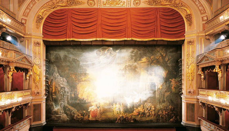 The delicately decorated backdrop of the Theatre Wien | Courtesy of Theatre an der Wien