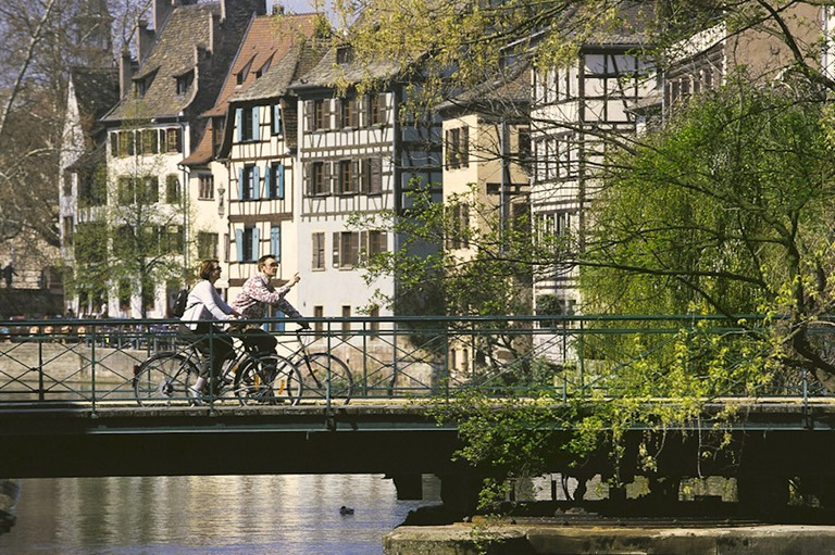 Cycling along Petite France in Strasbourg