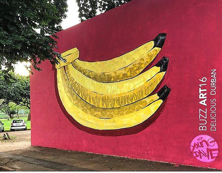 The image of bananas on KZNSA Gallery for BUZZART16 is striking when driving down Bulwer Road © Young Dave