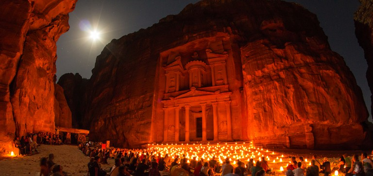 """Khazneh"" Petra by night, Jordan / Pétra de nuit, Jordanie © Sylvain L."