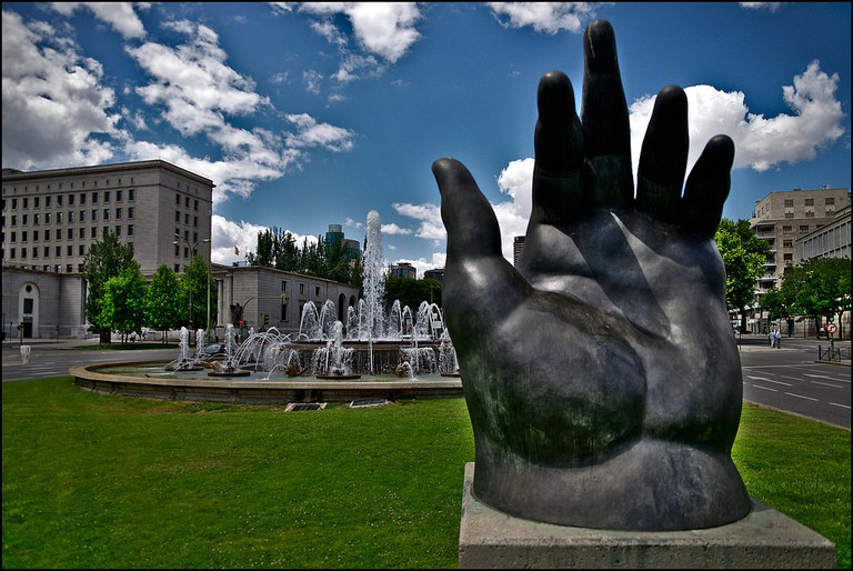 """The Hand"" sculpture by Botero in Madrid 