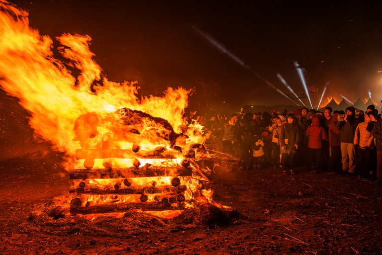 """Burning daljip, """"moon houses,"""" were traditionally burned on the first full moon of the new lunar year 