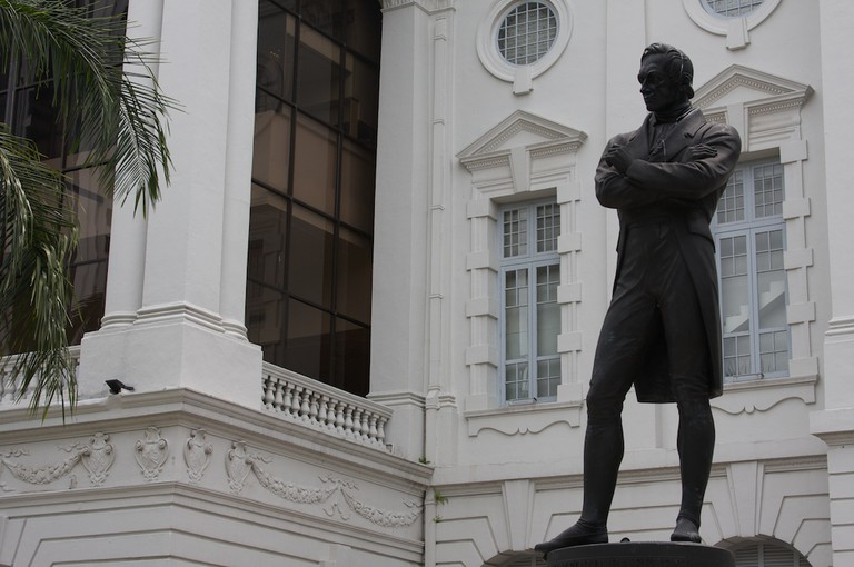 Sir Stamford Raffles statue outside of Victoria Concert Hall   © Brian Holsclaw