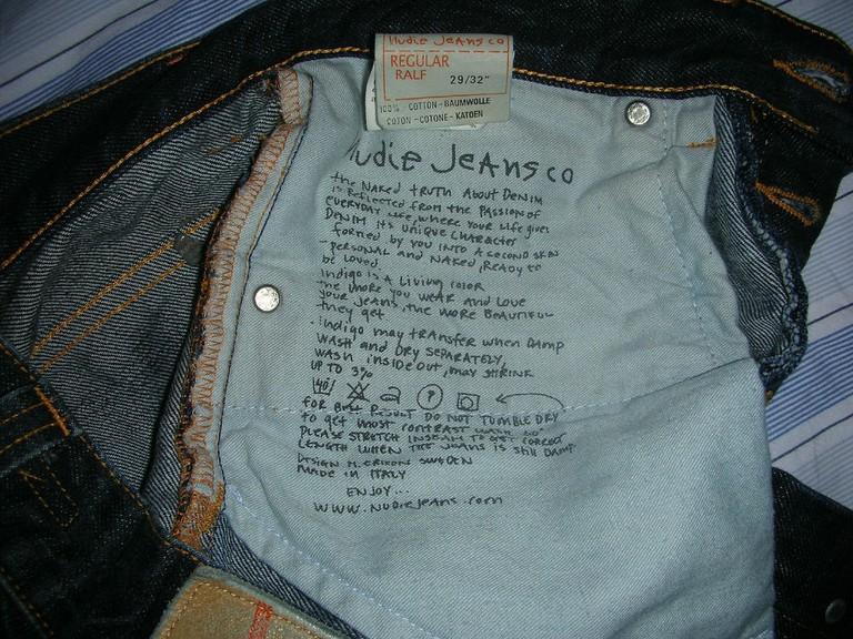Inside a pair of Nudie jeans