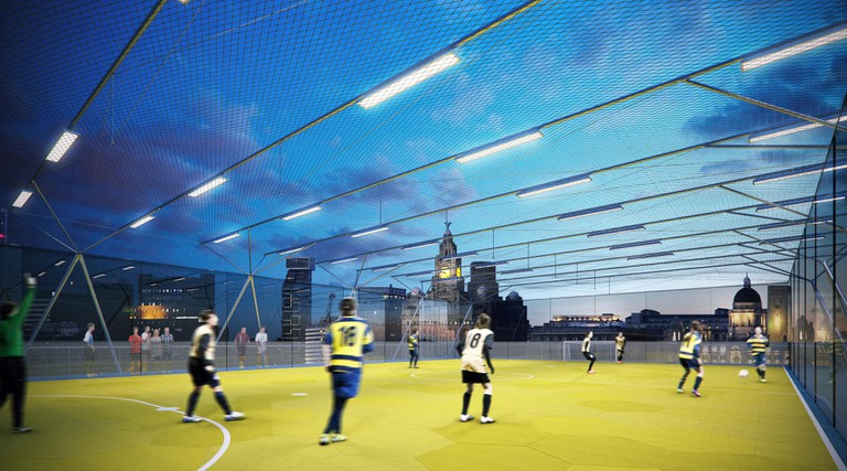 The stackable football pitches would cater to 5-a-side matches | © AL_A