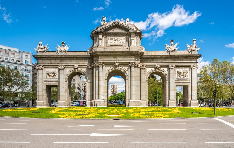Alcala Gate in Madrid. The Alcala Gate(Puerta de Alcala) is a Neo-classical monument in the Independent Place in Madrid| © milosk50/Shutterstock