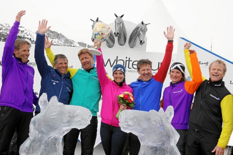Valeria Holinger (center) was named Queen of the Engadine as 2017 winner   © swiss-image/AndyMettler