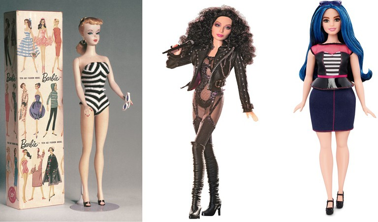 The original Barbie from 1959, Cher Barbie and the new Curvy Barbie | © Mattel Inc.