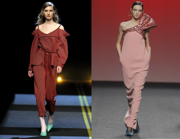 Off-shoulder looks from Moises Nieto (left) and the 2nd Skin (right) | © Foto Ugo Camera/IFEMA