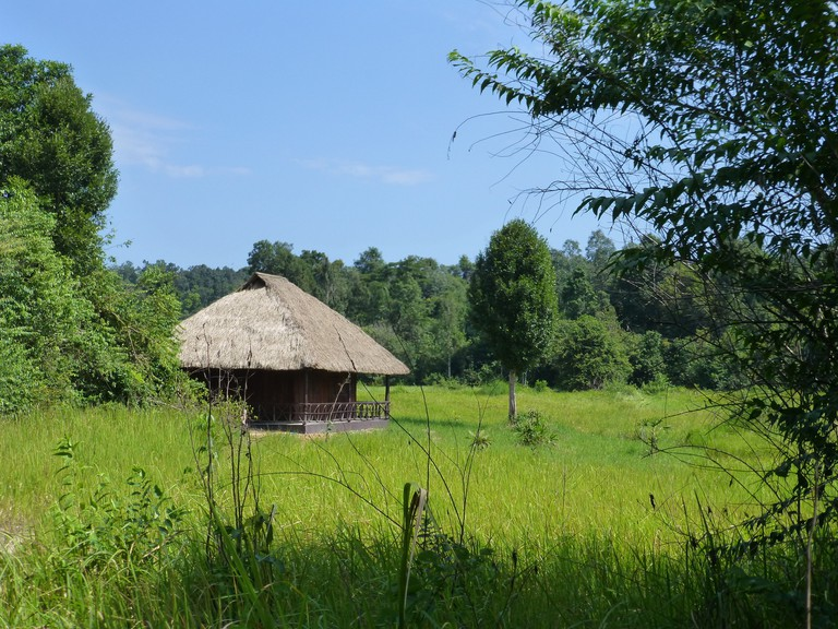 One of the huts guests stay in during a visit to Wildlife Alliance's wildlife release station © Wildlife Alliance
