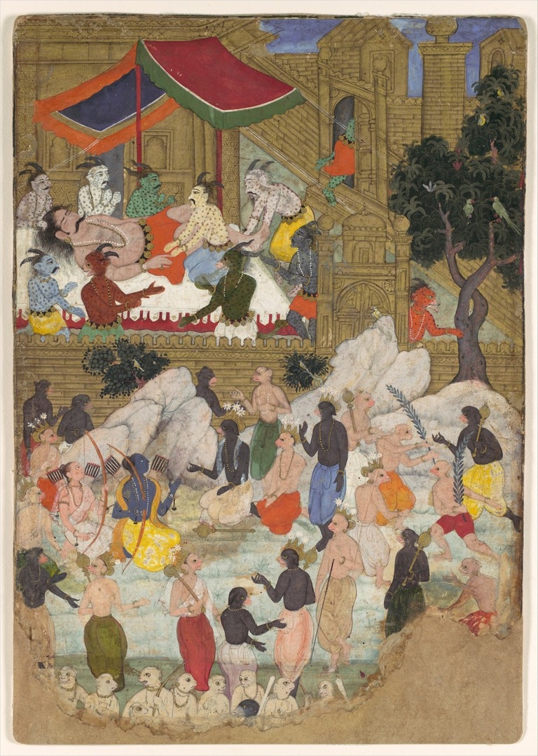 The Awakening of Kumbhakarna in the Golden City of Lanka (c. 1605). Cynthia Hazen Polsky and Leon B. Polsky Fund, 2002