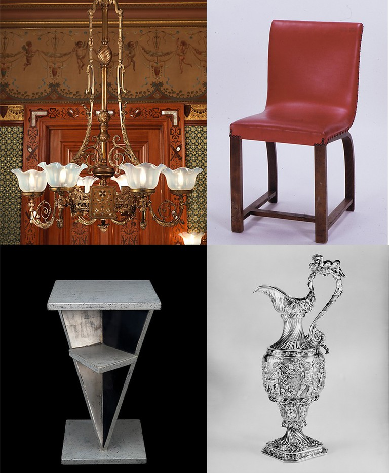 George A. Schastey & Co. chandelier, Gilbert Rohde chair, Jean Dunand lacquered wood chair, Tiffany & Co. silver pitcher